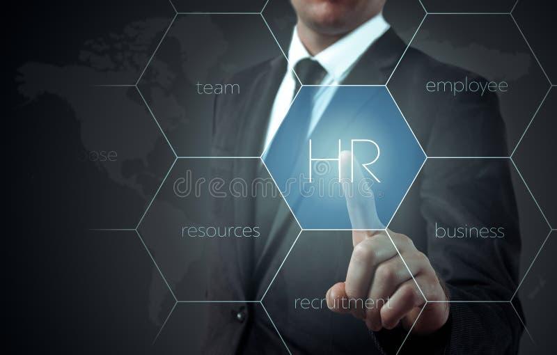 Affärsmanpunkter till symbol-timme, rekrytering och det valda begreppet royaltyfri bild
