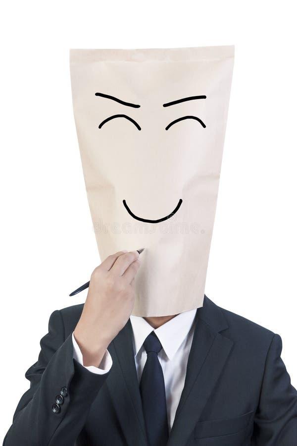 affärsmanräkningshuvud arkivfoto