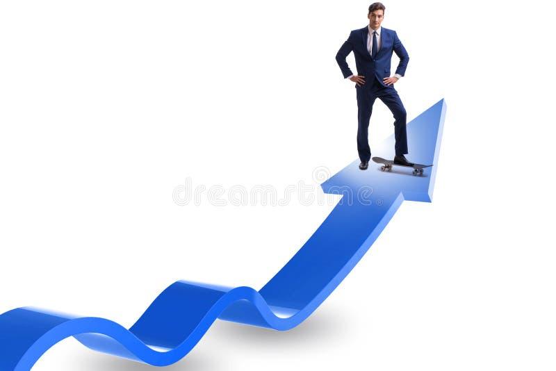 Affärsmanridningskateboard på finansiell graf royaltyfri foto