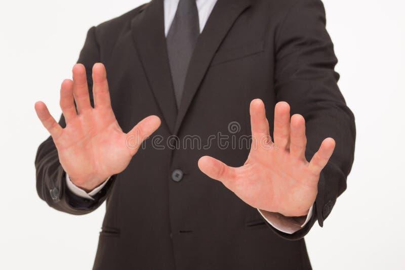 Affärsmans gest med händer arkivbilder