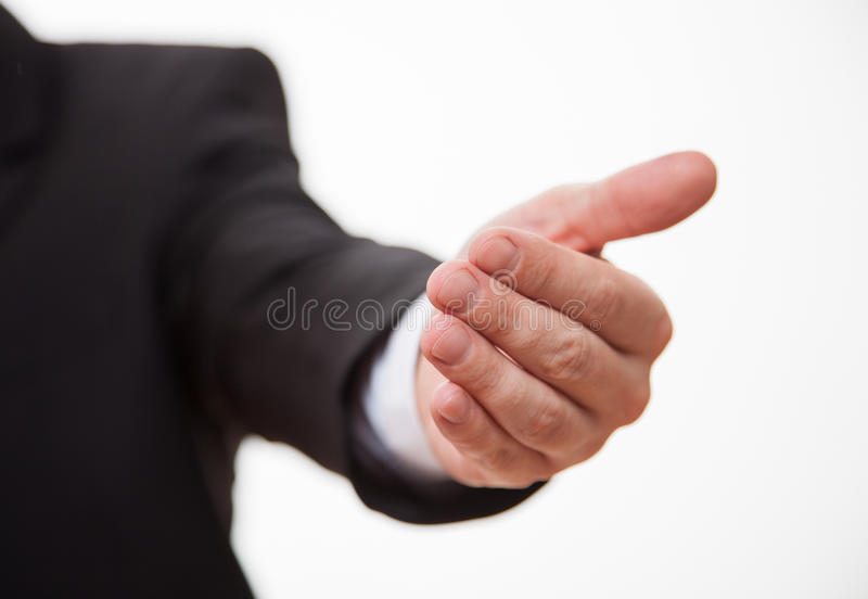 Affärsmans hand som visar en invocatory gest royaltyfri bild