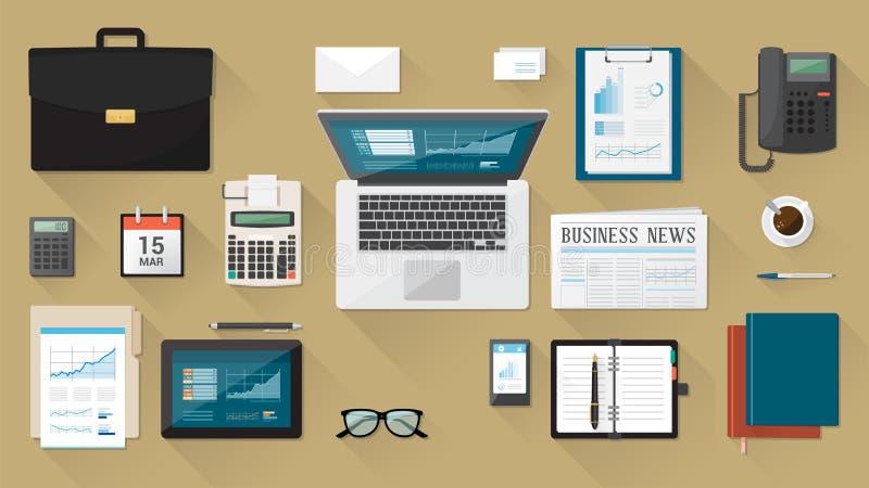 Affärsmans skrivbord vektor illustrationer