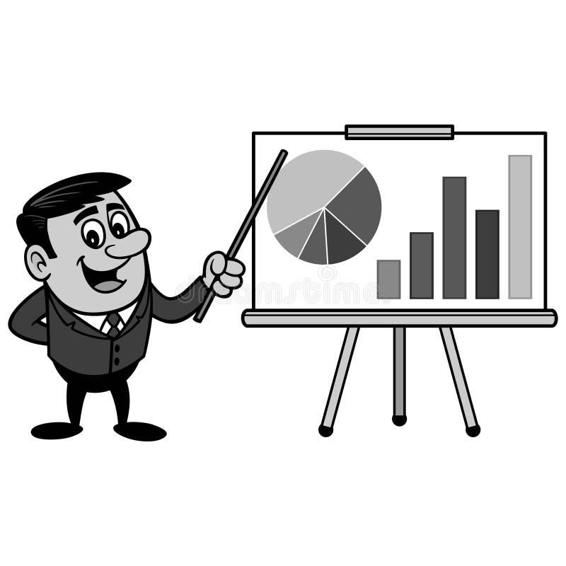 AffärsmanSales Pitch Presentation illustration royaltyfri illustrationer