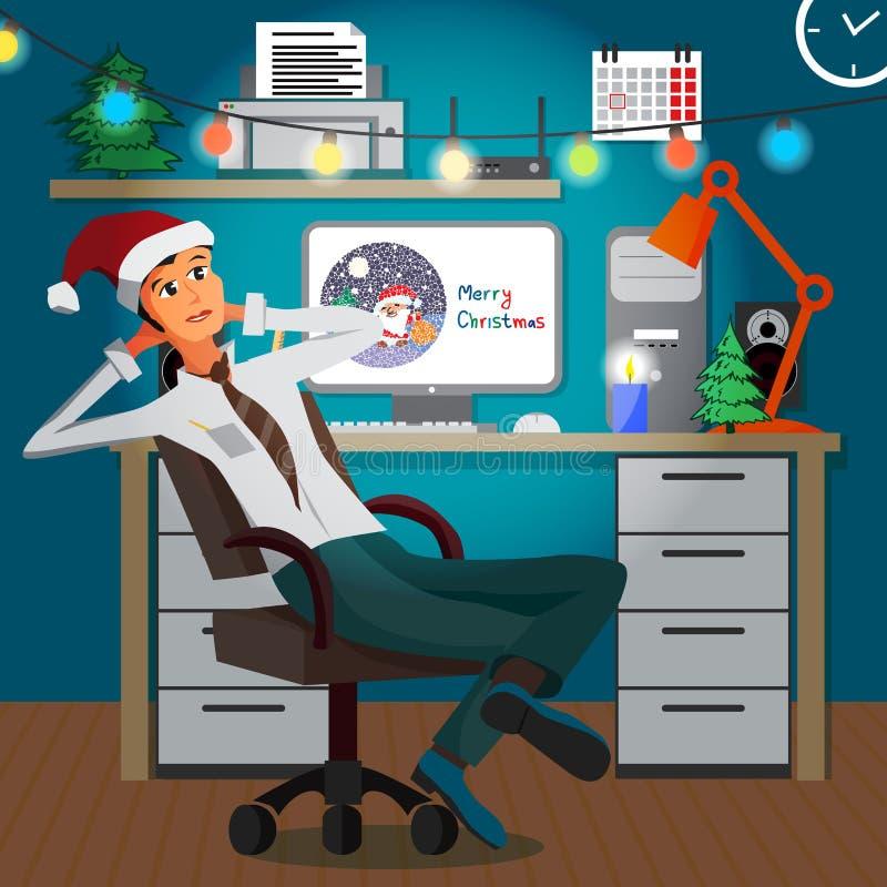 Affärsmansammanträde i kontoret i aftonen på jul royaltyfri illustrationer
