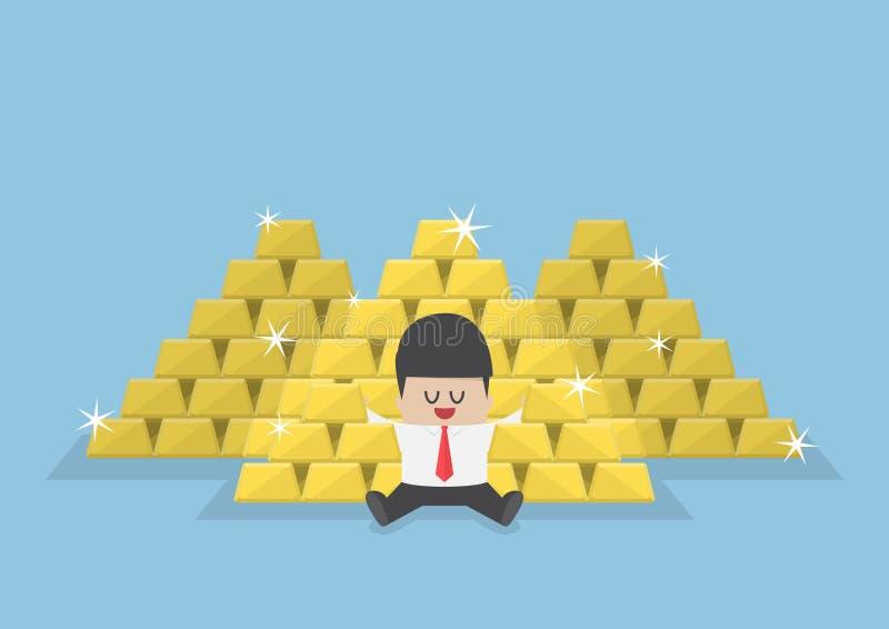 Affärsmansammanträde med en hög av guld- stänger stock illustrationer