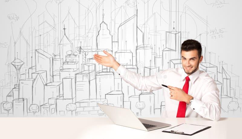 Download Affärsmansammanträde På Den Vita Tabellen Med Hand Drog Byggnader Fotografering för Bildbyråer - Bild av renovering, klick: 78730125