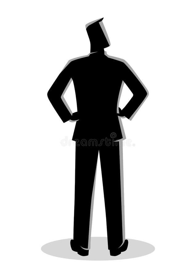 AffärsmanSilhouette Standing Back sikt royaltyfri illustrationer