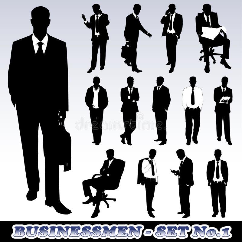 affärsmansilhouettes royaltyfri illustrationer