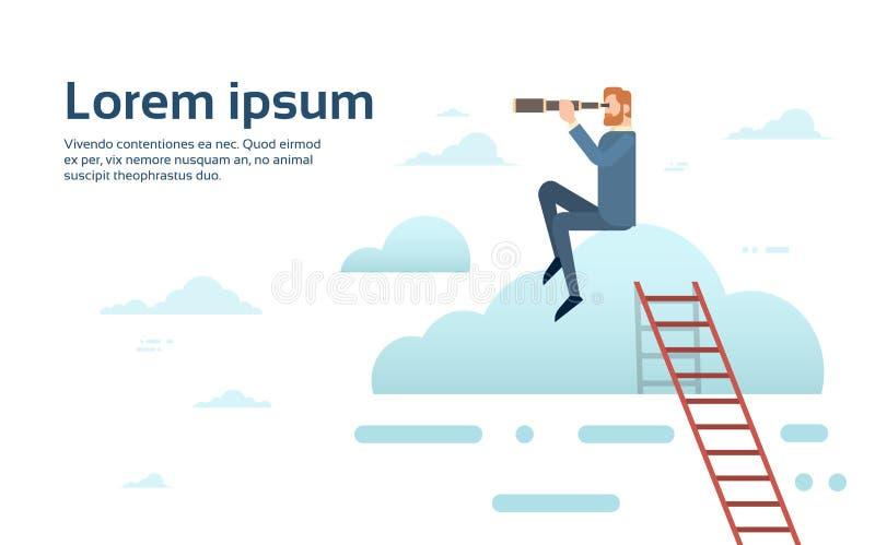 AffärsmanSit On Cloud With Binoculars lyckad framtid vektor illustrationer
