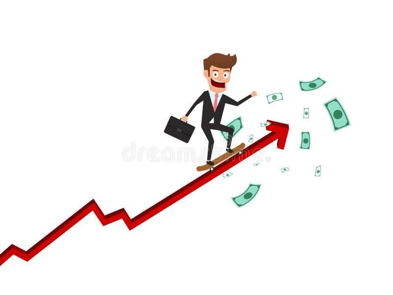 Affärsmanskateboarden på tillväxtpilgraf får mycket pengar Finansiell investering och framgångbegrepp royaltyfri illustrationer