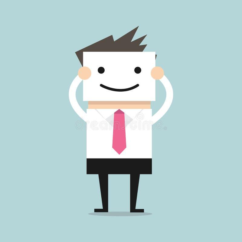 Affärsmanskinn hans verkliga framsida, genom att rymma leendemaskeringen stock illustrationer