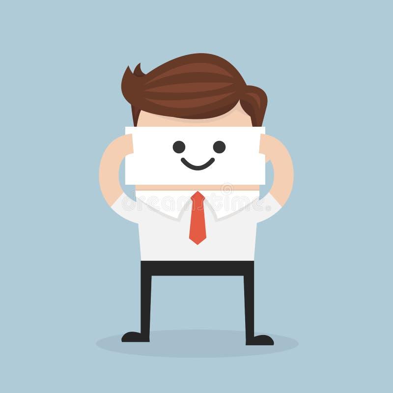 Affärsmanskinn hans verkliga framsida, leendemaskering vektor illustrationer