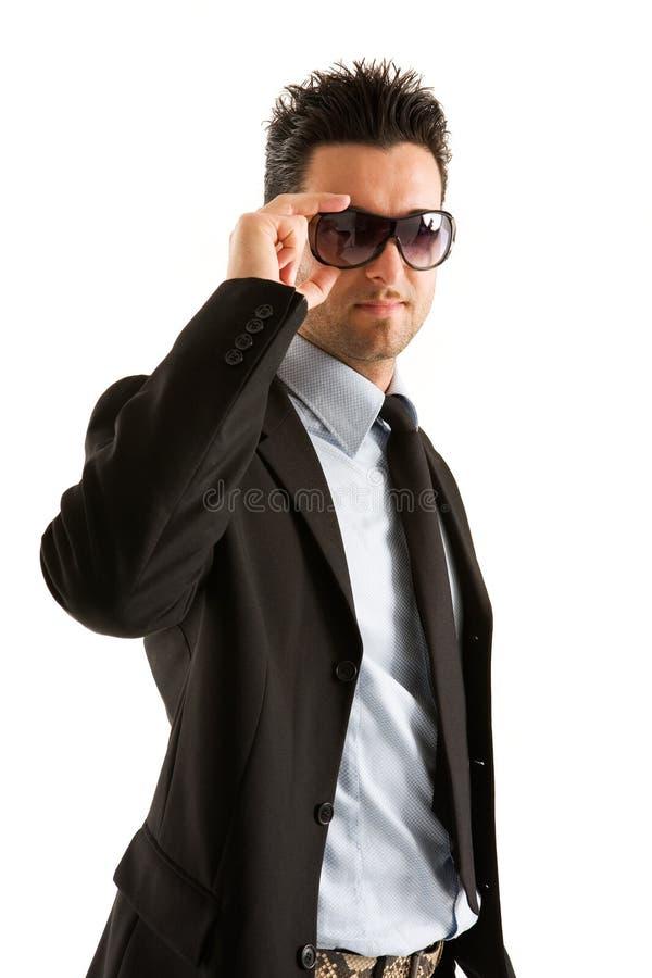 affärsmansolglasögonslitage arkivfoton