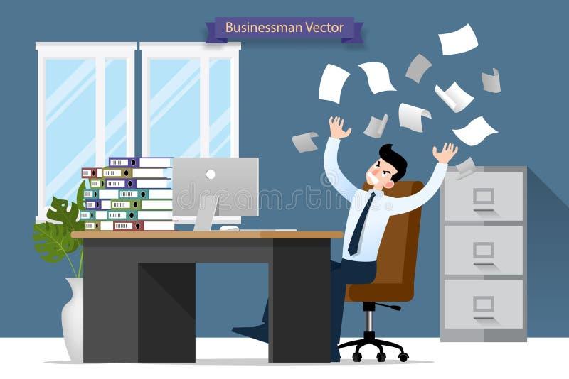 Affärsmanspänning på skrivbordet vid mycket arbete Plan vektorillustrationdesign av anställdteckenet med bunten av pappers- arbet stock illustrationer