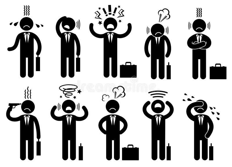 Affärsmanspänningstryck, mentala frågor för affär, begreppsvektorsymboler med pictogramfolktecken royaltyfri illustrationer