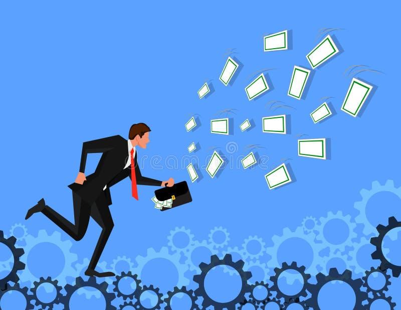 Affärsmanspring för att locka med dollarräkningen på kugghjulbakgrund Motiveras av pengar Tjäna mycket mer pengar Jaktnolla stock illustrationer