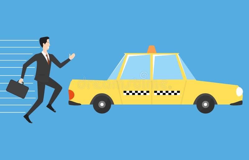 Affärsmanspring för taxi royaltyfri illustrationer