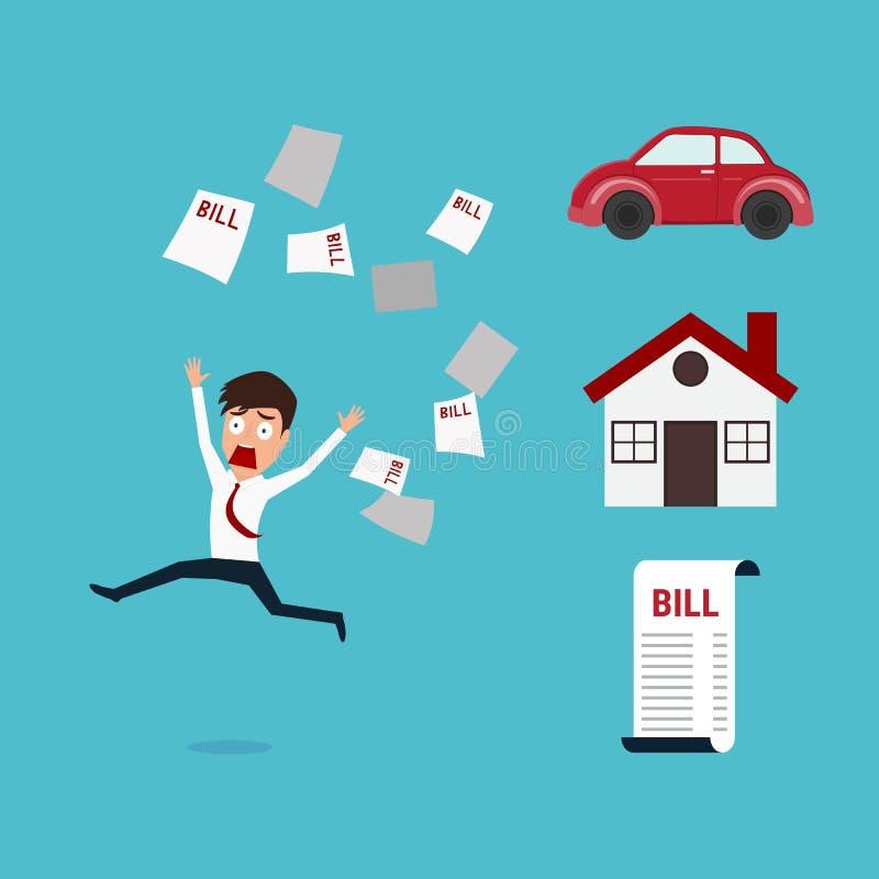 Affärsmanspring i väg från mycket räkning Affärsman inga pengar finansiellt begrepp royaltyfri illustrationer