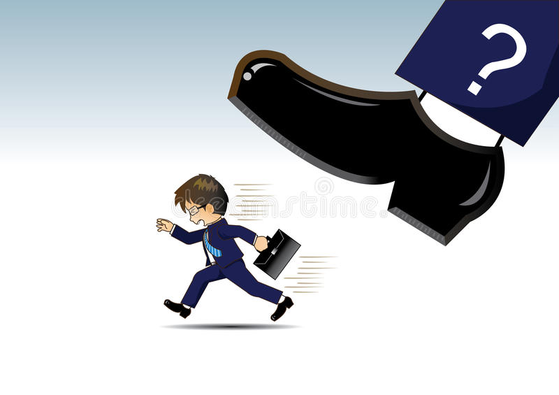 Affärsmanspring i väg från mycket stora skor stock illustrationer