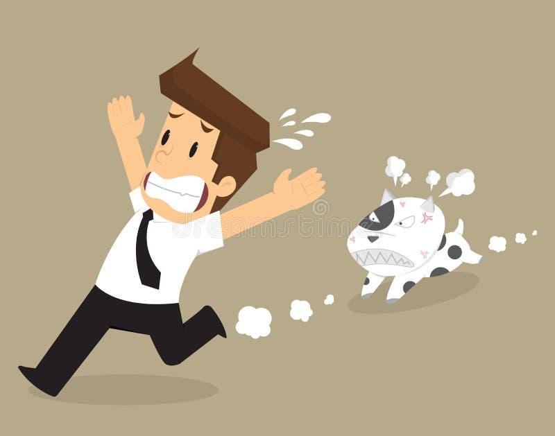 Affärsmanspring i väg från problem, hundkapplöpning jagar en tugga royaltyfri illustrationer