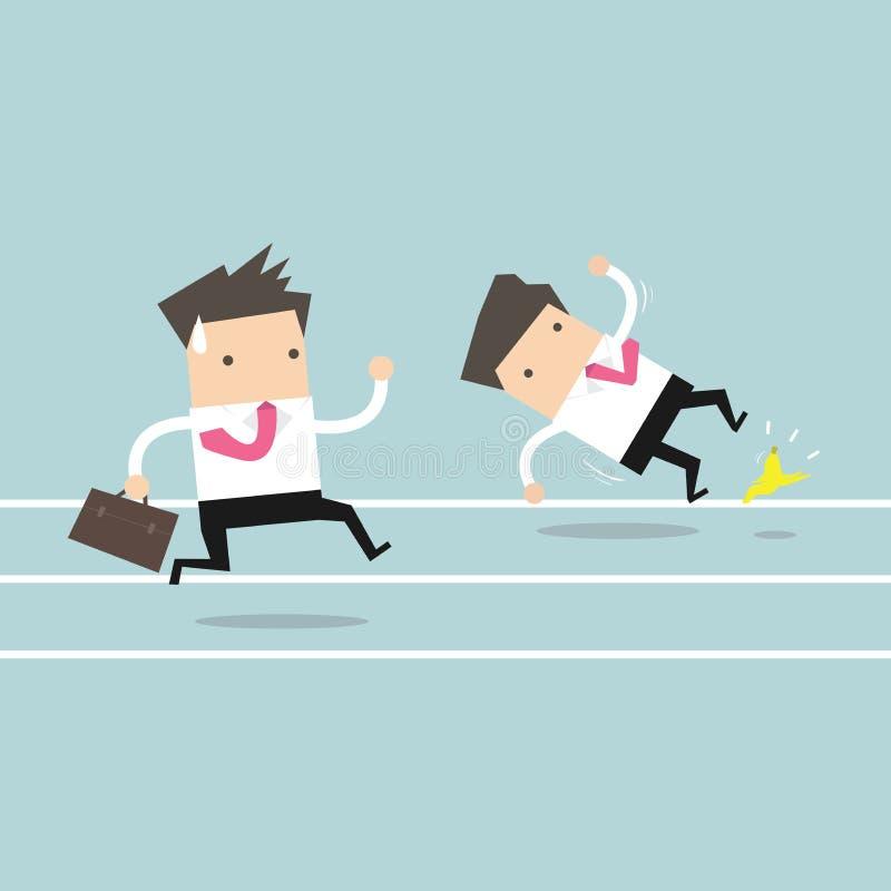 Affärsmanspring med hans konkurrent asiat bak hammaren för begrepp för konkurrens för böjningsaffärsaffärsman som rymmer två royaltyfri illustrationer