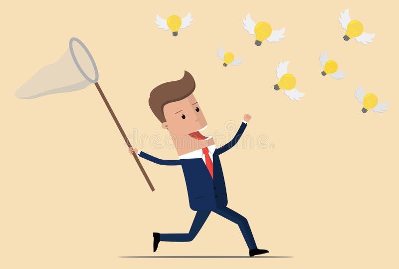 Affärsmanspring med netto fånga ljusa kulor för fjäril som flyger i luften Idéaffärsidé Vektor Illustratio stock illustrationer