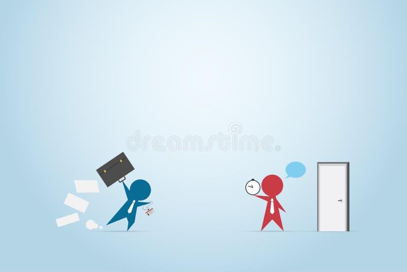 Affärsmanspring med portföljen till kontoret och framstickandeinnehavet tar tid på framme av dörren, tiden och affärsidéen stock illustrationer