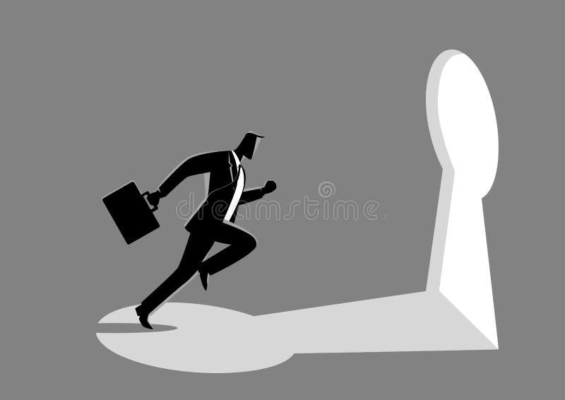 Affärsmanspring in mot ett nyckel- hål royaltyfri illustrationer