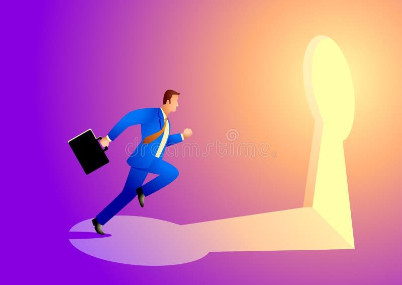 Affärsmanspring in mot ett nyckel- hål vektor illustrationer