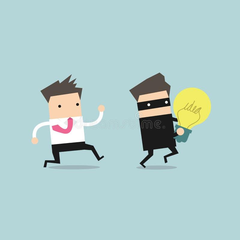 Affärsmanspring och jagatjuv med en stulen idé i händer stock illustrationer