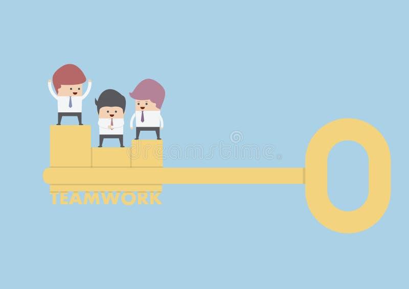 Affärsmanställning på den guld- tangenten, teamworkbegrepp royaltyfri illustrationer