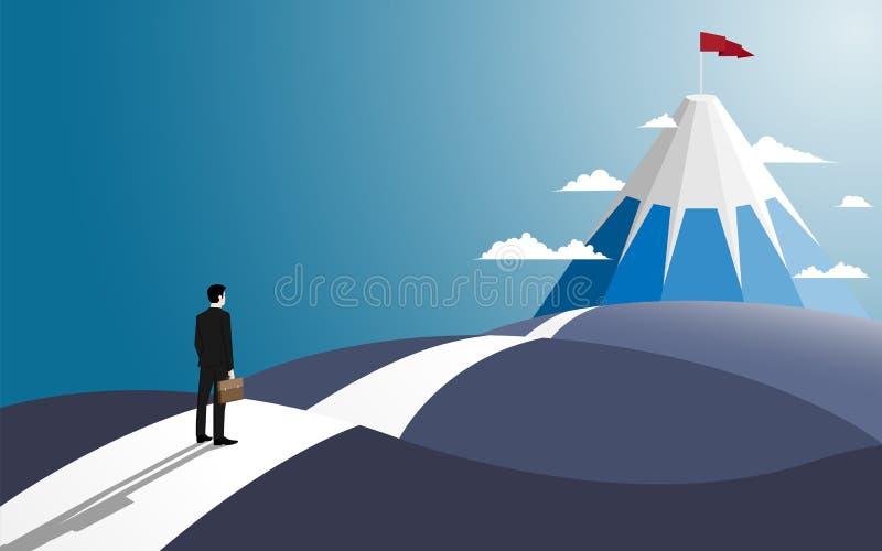 Affärsmanställningen på vägblicken på går till framgången vektor illustrationer