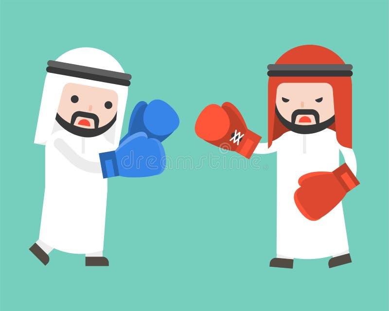 Affärsmanstridighet för två arab med boxninghandskar, lägenhetdesign royaltyfri illustrationer