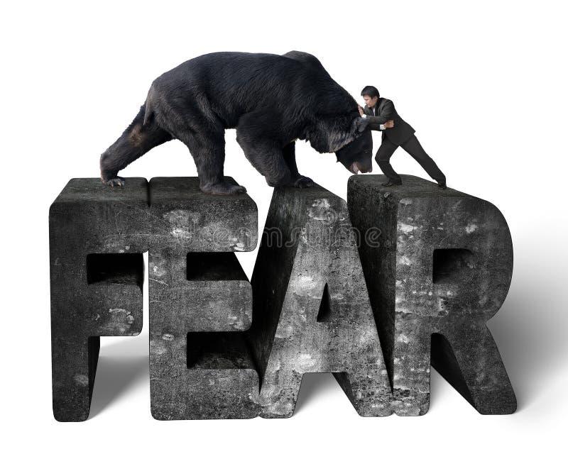 Affärsmanstridighet mot svart björn på betongord för skräck 3d fotografering för bildbyråer