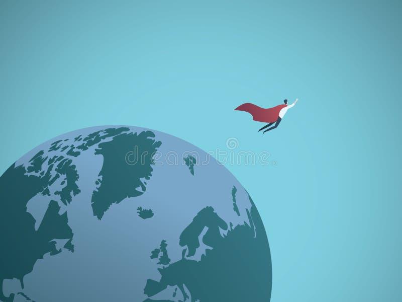 Affärsmansuperhero som runt om världen flyger vektorbegrepp Symbol av makt, ledarskap, framgång stock illustrationer