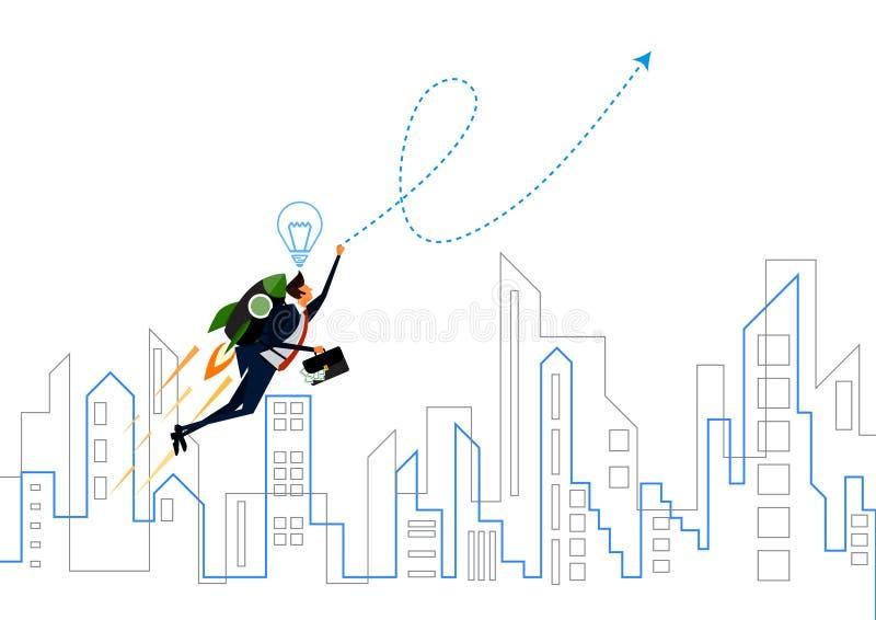Affärsmansuperhero som stålmannen som flyger över stadsavtalsavtalet stock illustrationer