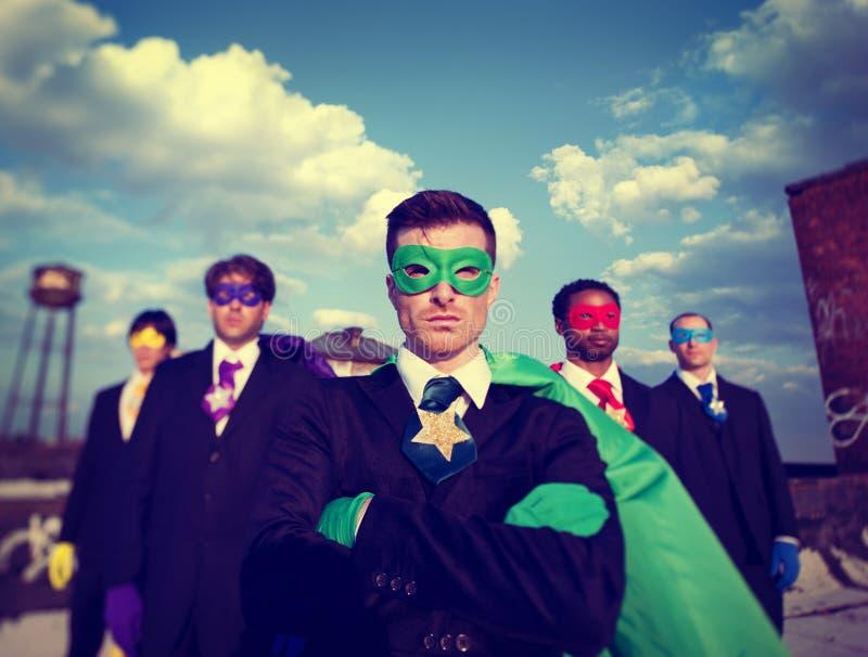 AffärsmanSuperhero Team Confidence Concepts royaltyfria foton
