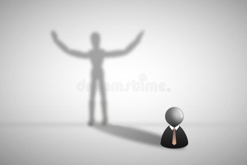 Affärsmansymbolsanseende på grå golv- och skuggaskuggning på väggen i mänsklig form vektor illustrationer