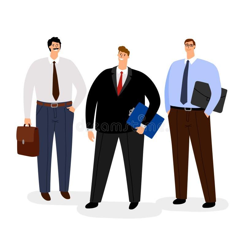 Affärsmansymbolsuppsättning som isoleras på vit stock illustrationer