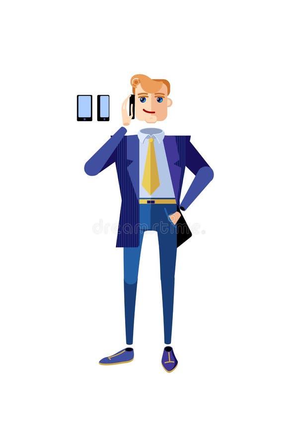 Affärsmantecken i ett blått anseende för kontorsfölje som talar på telefonen Manligt tecken i en dräkt och ett band med en telefo royaltyfri illustrationer