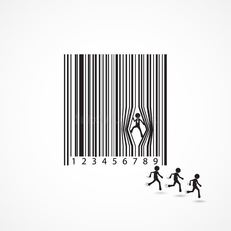 Affärsmantecken med förfallbarcoden Tecknad film affärsidé vektor illustrationer