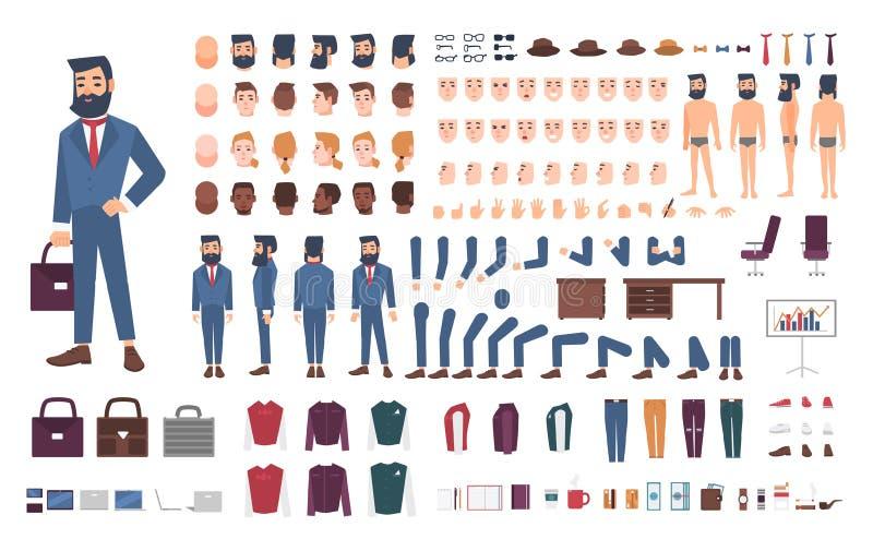 Affärsmanteckenkonstruktör Manlig kontoristskapelseuppsättning Olika ställingar, frisyr, framsida, ben, händer stock illustrationer