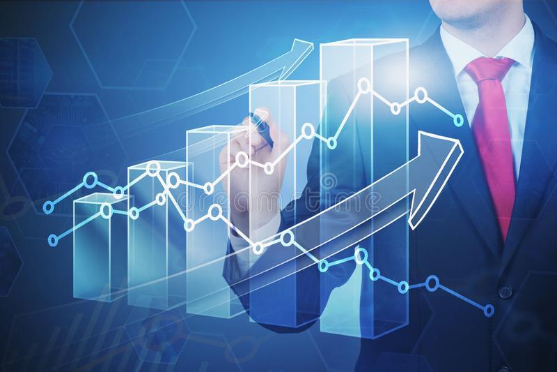 Affärsmanteckning som växer den digitala grafen arkivfoto