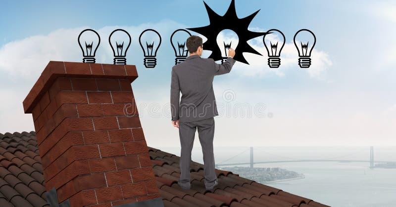Affärsmanteckningsbelysningsutrustning, medan stå på taket vektor illustrationer