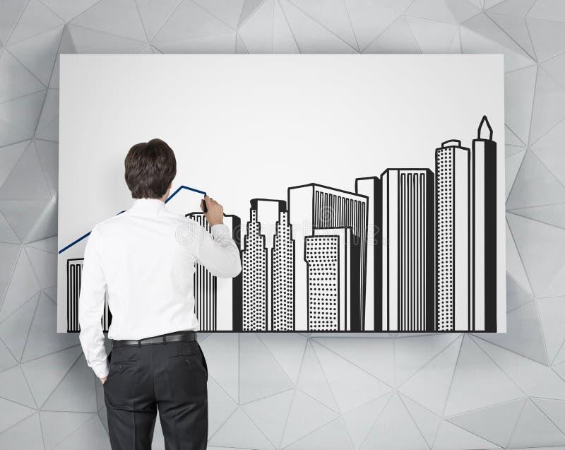 Affärsmanteckningsbyggnader arkivbild