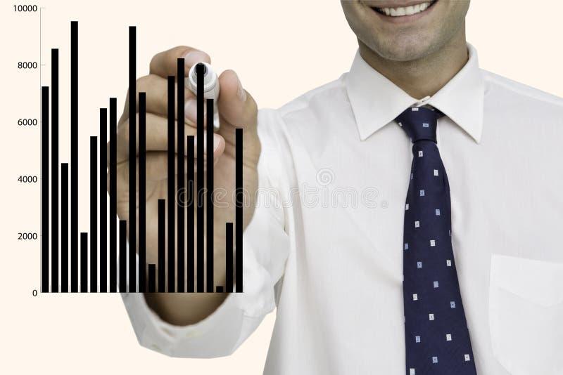 Affärsmanteckningsdiagram på skärmen mot vit bakgrund stock illustrationer