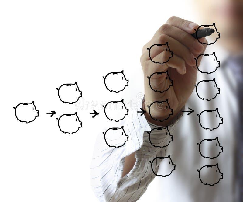 Affärsmanteckningsspargris vektor illustrationer