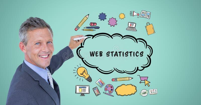 Affärsmanteckningssymboler med rengöringsdukstatistik smsar i molnform stock illustrationer