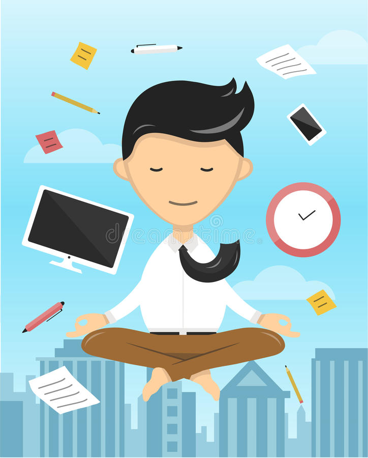 Affärsmanyoga som mediterar den plana illustrationen vektor illustrationer