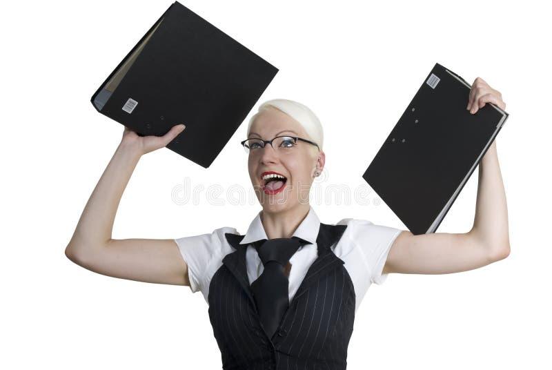 affärsmappar hands henne kvinnan arkivbild